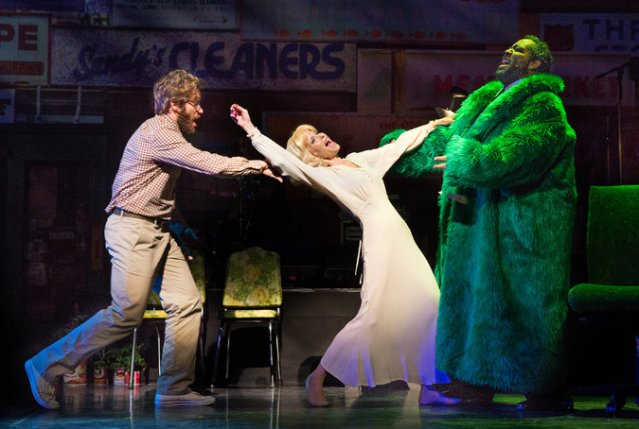 Jake Gyllenhaal, Ellen Greene and Eddie Cooper in Little Shop of Horrors. Photo Credit: Joan Marcus/NYTimes