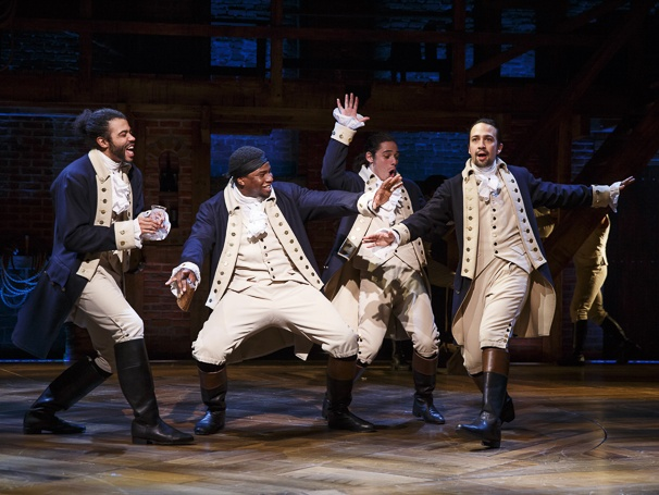 Daveed Diggs, Okieriete Onaodowan, Anthony Ramos and Lin-Manuel Miranda in Hamilton. Photo Credit: Joan Marcus