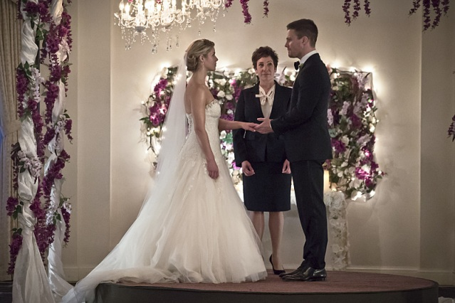 "Emily Bett Rickards and Stephen Amell in the Arrow episode ""Broken Hearts."" Photo Credit: The CW"