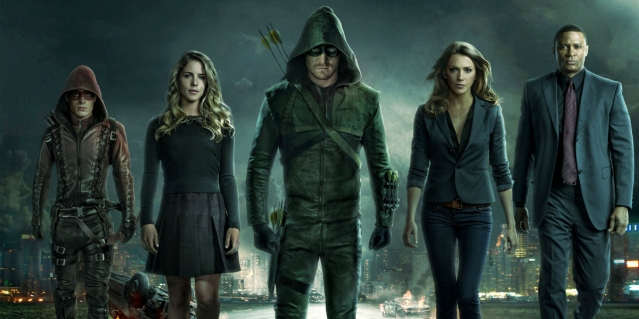 Colton Haynes, Emily Bett Rickards, Stephen Amell, Katie Cassidy and David Ramsey in The CW drama Arrow. Photo Credit: The CW
