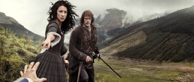 Caitriona Balfe and Sam Heughan in the Outlander 1B poster. Photo Credit: Starz