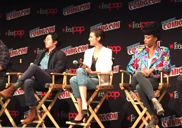 Steven Yeun, Lauren Cohan and Sonequa Martin-Green at The Walking Dead NYCC 2016. Photo Credit: The Walking Dead Twitter