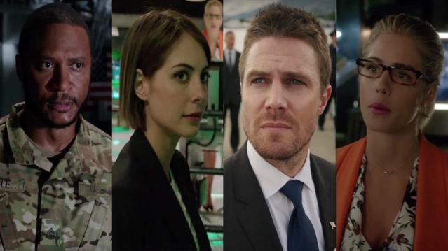 David Ramsey, Willa Holland, Stephen Amell and Emily Bett Rickards in the Arrow season 5 trailers. Photo Credit: The CW