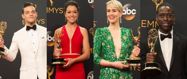 Rami Malek, Tatiana Maslany, Sarah Paulson and Sterling K. Brown win 2016 Emmy Awards. Photo Credit: ABC