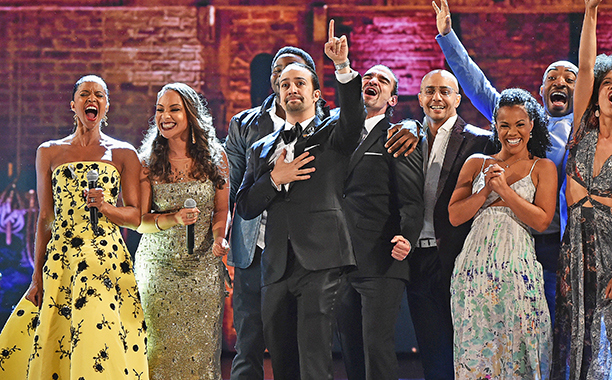 Lin-Manuel Miranda and the cast of Hamilton at the 2016 Tony Awards. Photo Credit: CBS