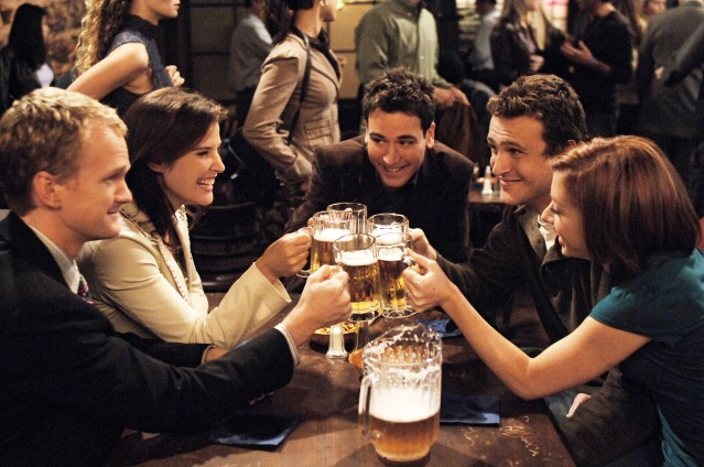 Neil Patrick Harris, Cobie Smulders, Josh Radnor, Jason Segel and Alyson Hannigan in the CBS sitcom How I Met Your Mother. Photo Credit: AP Photo/CBS, Ron P. Jaffe