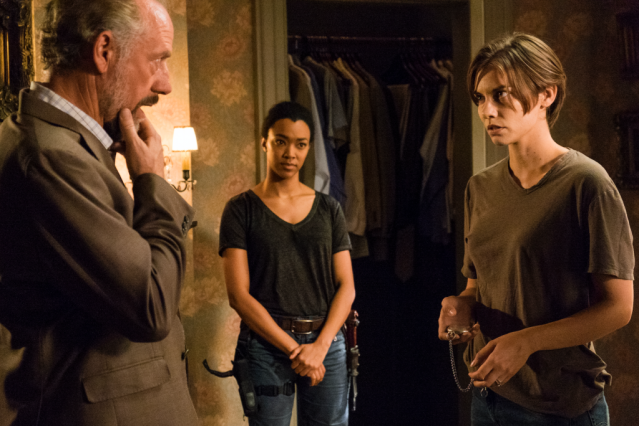 "Xander Berkeley, Sonequa Martin-Green and Lauren Cohan in The Walking Dead episode ""Go Getters."" Photo Credit: AMC"
